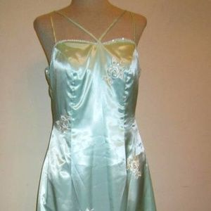 Beauty Emerald Blue Satin Long Strapless Dress XS